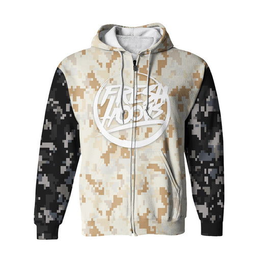 Pixelated Camo Zip Up Hoodie