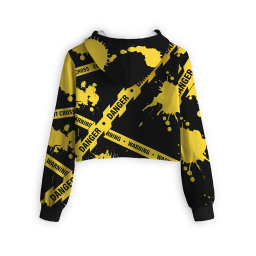 Caution Cropped Hoodie