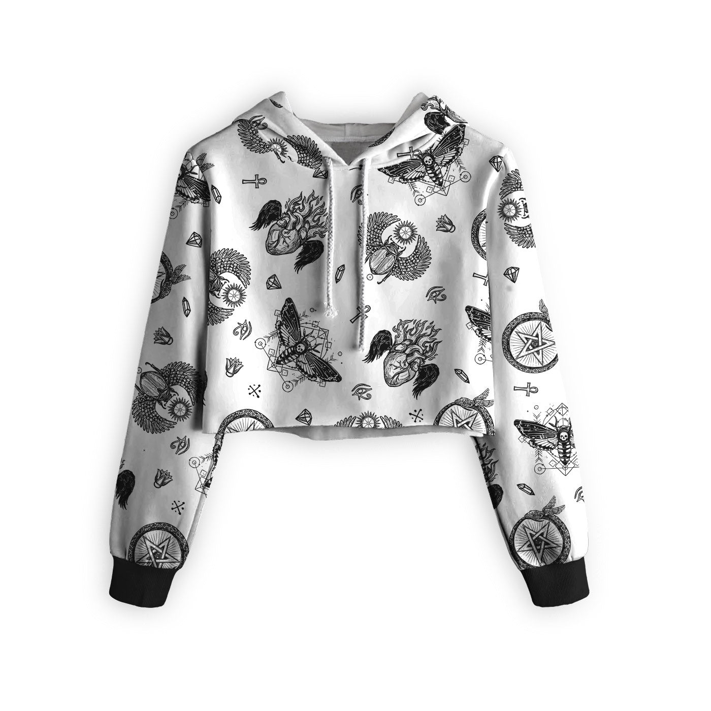 Tattoo Opt Cropped Hoodie