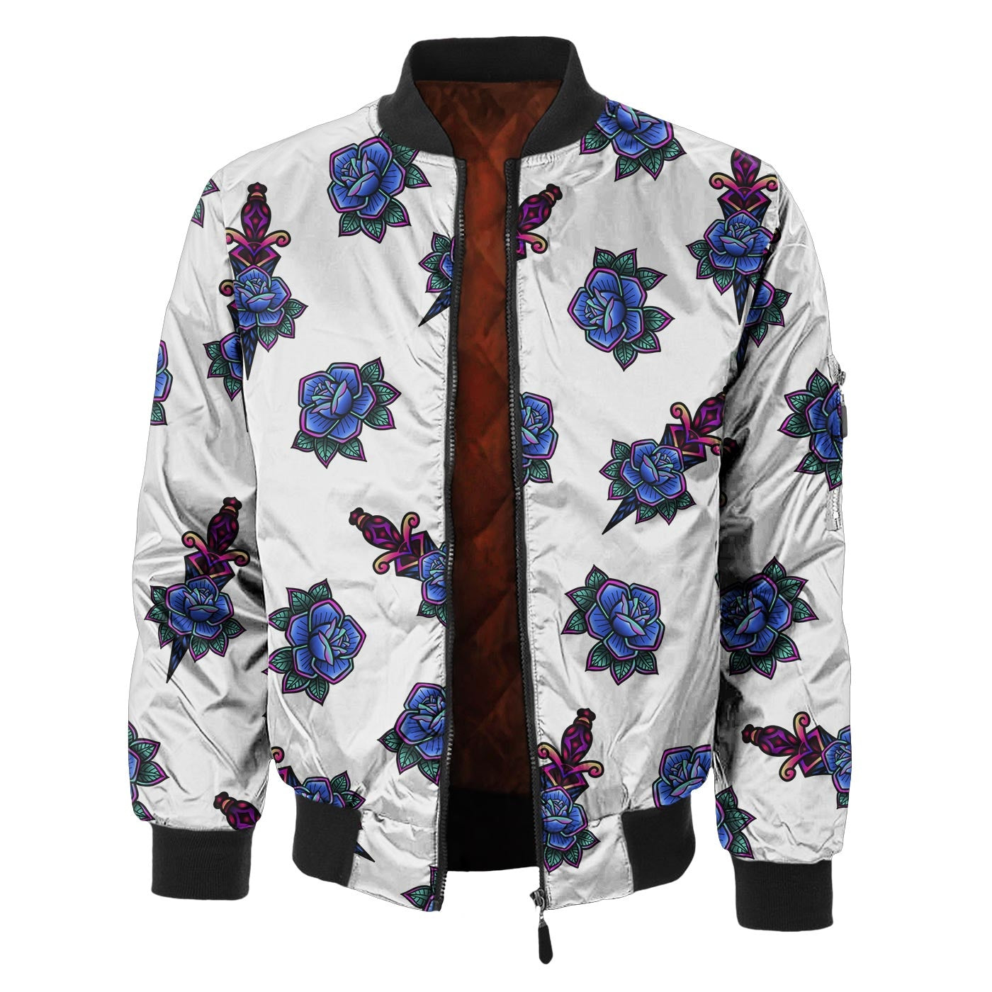 Tattoo Pattern Bomber Jacket
