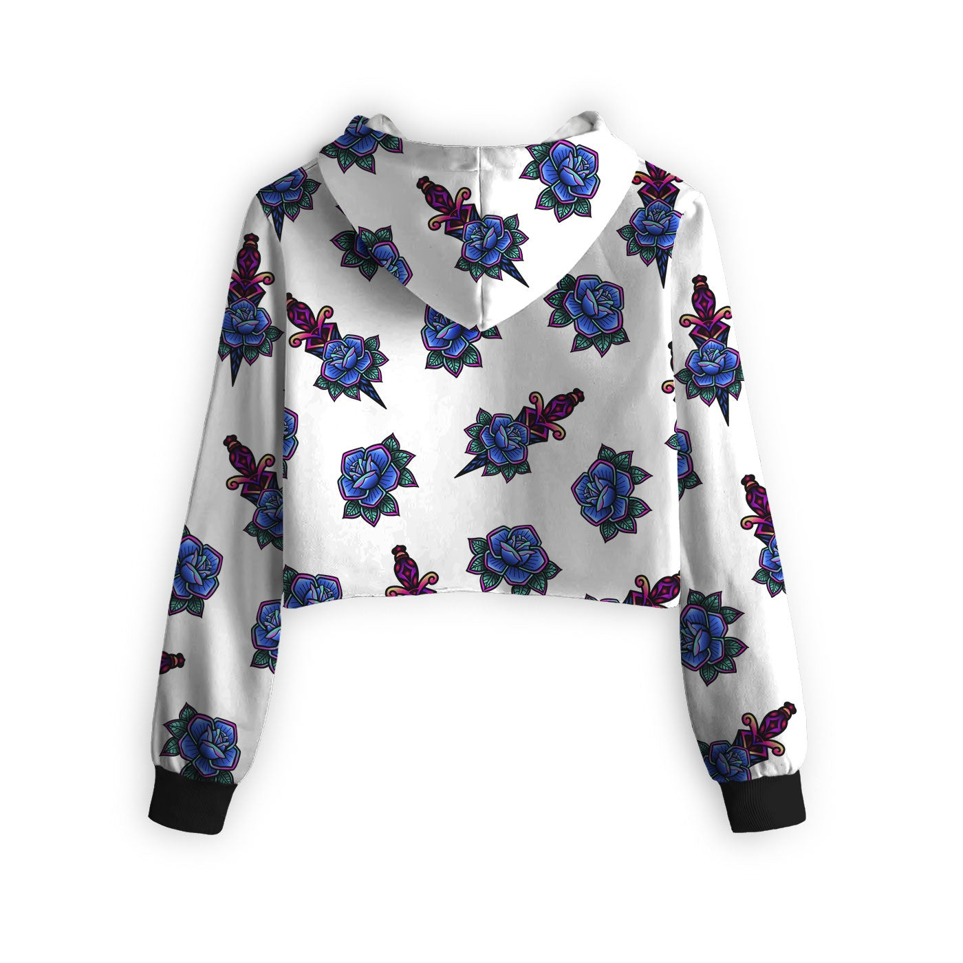 Tattoo Pattern Cropped Hoodie