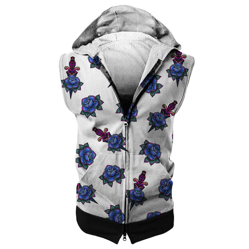 Tattoo Pattern Sleeveless Hoodie