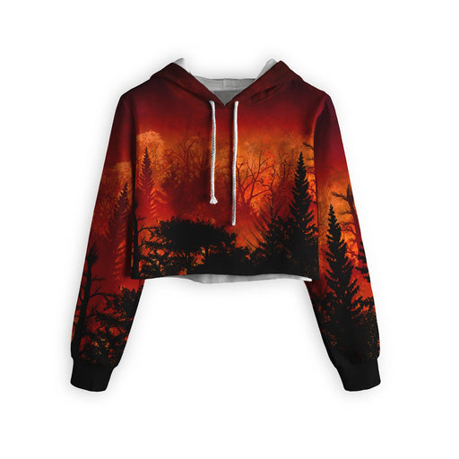Forest In Flames Cropped Hoodie
