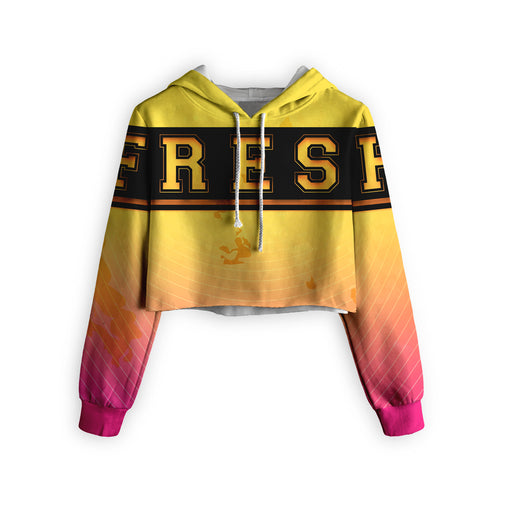 Yellow To Pink Cropped Hoodie
