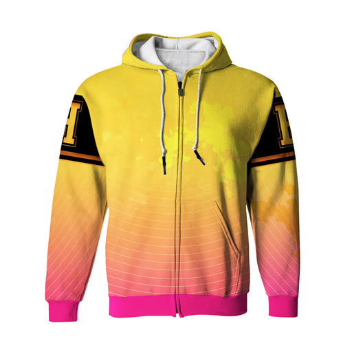 Yellow To Pink Zip Up Hoodie