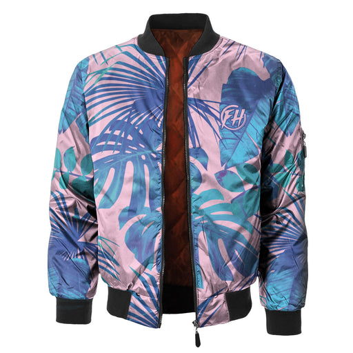 Blue Monstera Bomber Jacket