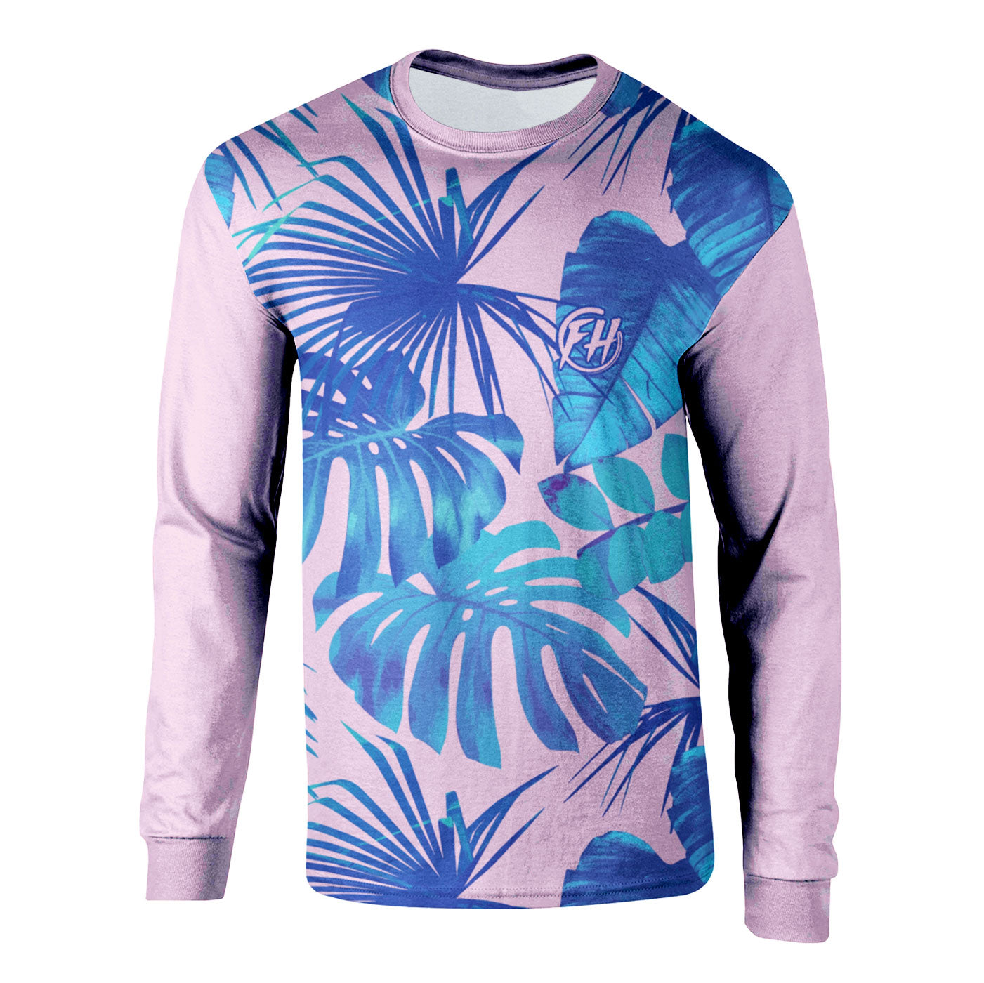 Blue Monstera Long Sleeve Shirt