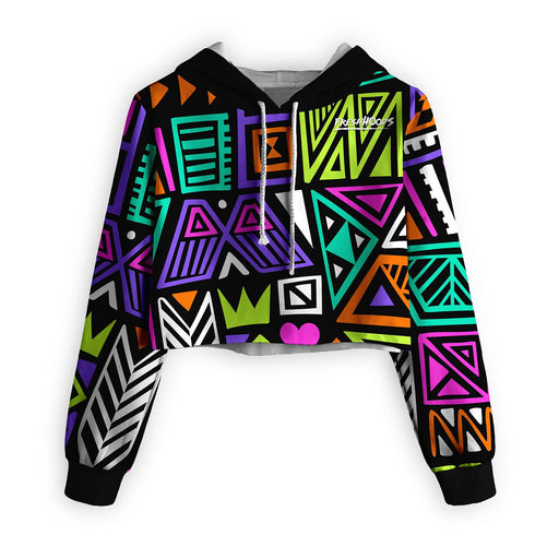Polygon Tribes Cropped Hoodie