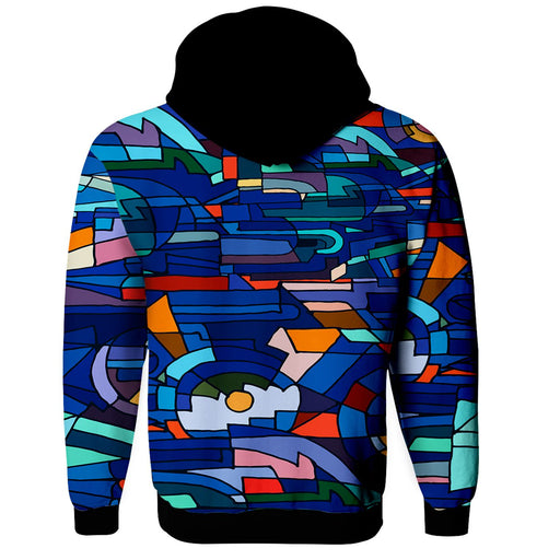 Abstract Mosaic Zip Up Hoodie