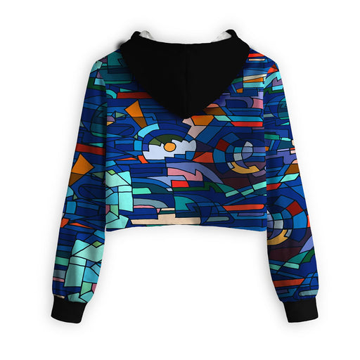 Abstract Mosaic Cropped Hoodie