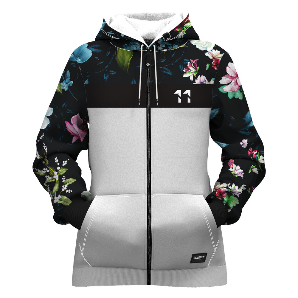 Dark Floral Women Zip Up Hoodie