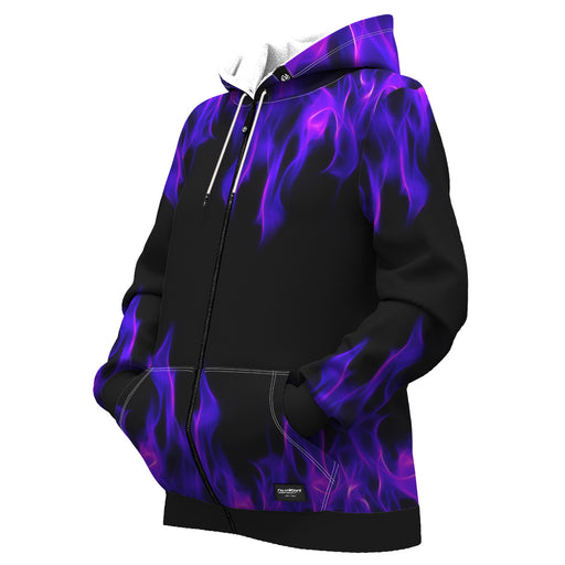 Purple Flame Women Zip Up Hoodie