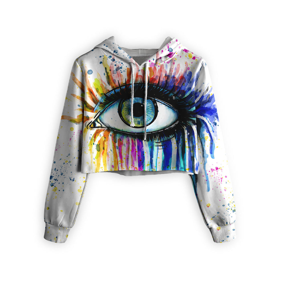 Watercolor Eye Cropped Hoodie