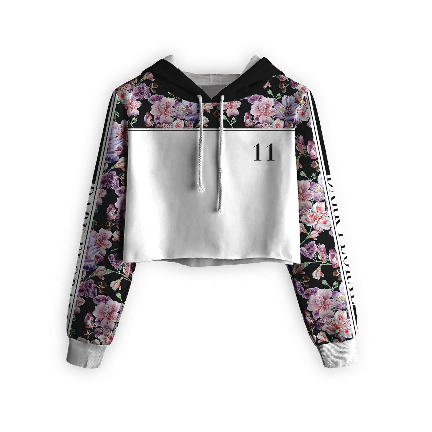 Midnight Pink Blossom Cropped Hoodie