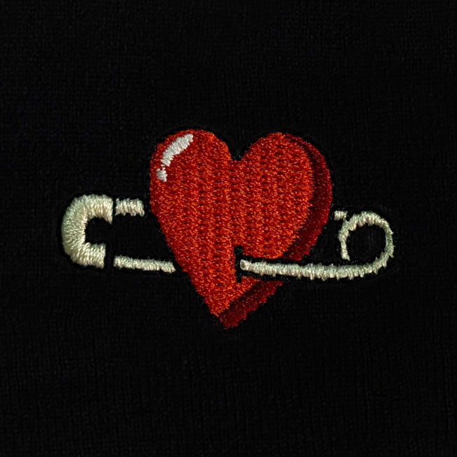 Heart Embroidered Cuffed Beanie