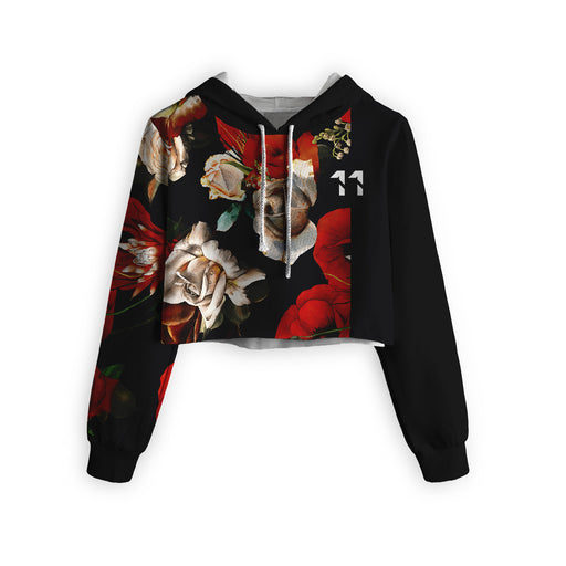 Antique Flowers Cropped Hoodie