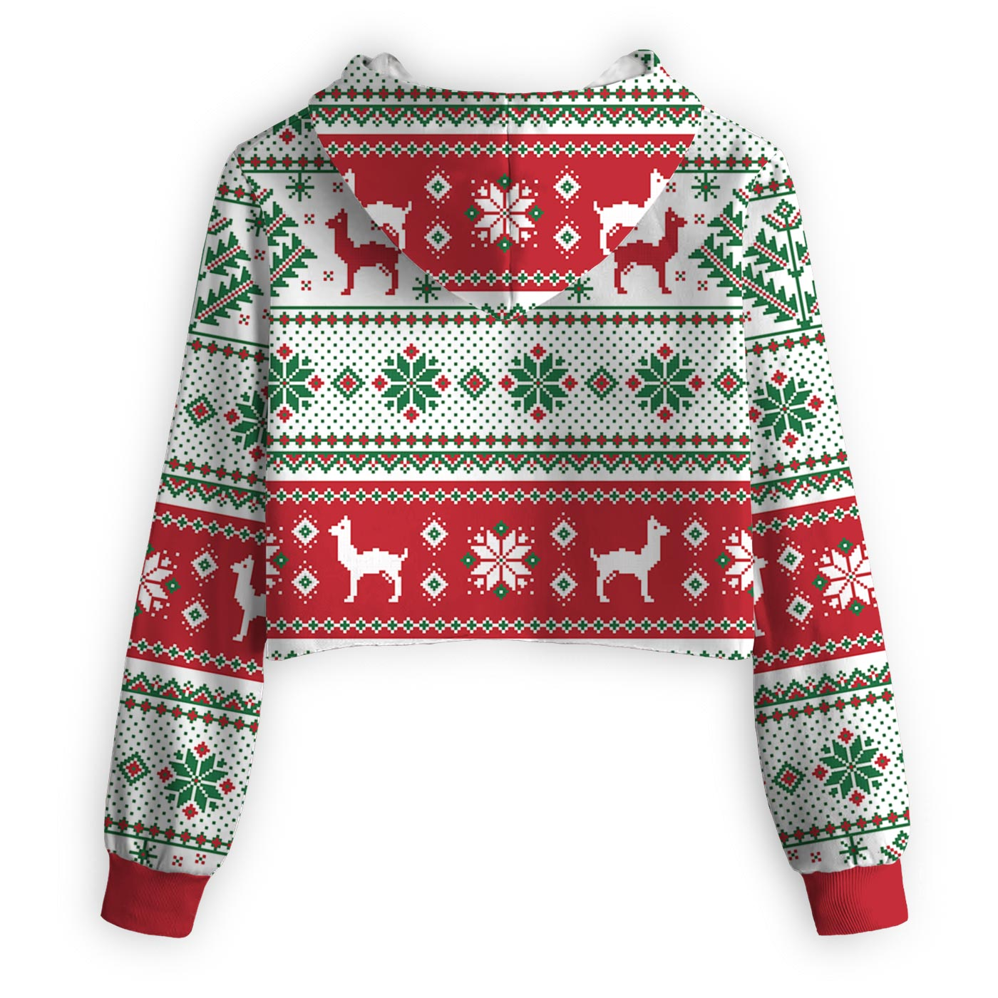 Christmas Lama Texture Cropped Hoodie