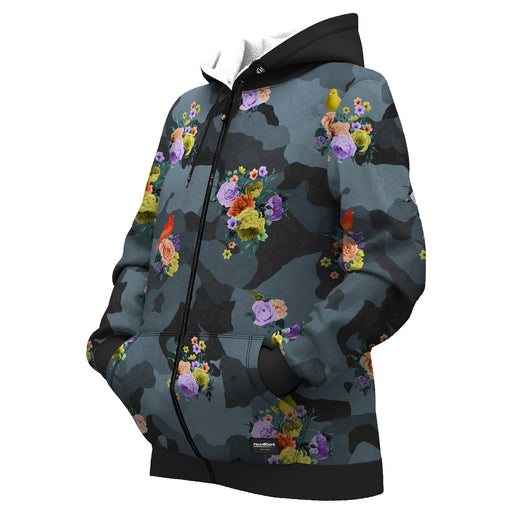 Camo Flower Women Zip Up Hoodie