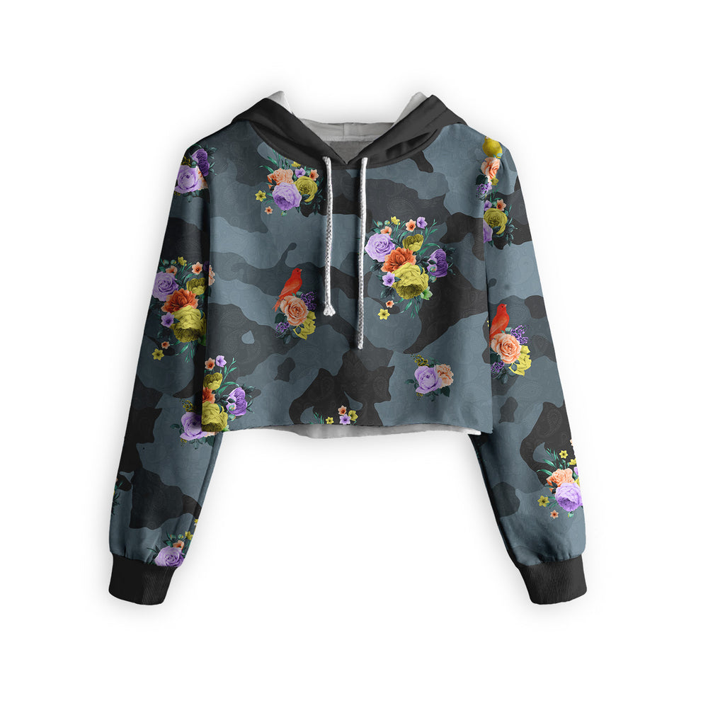Camo Flower Cropped Hoodie