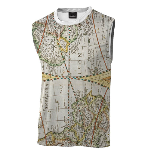 Map Sleeveless T-Shirt