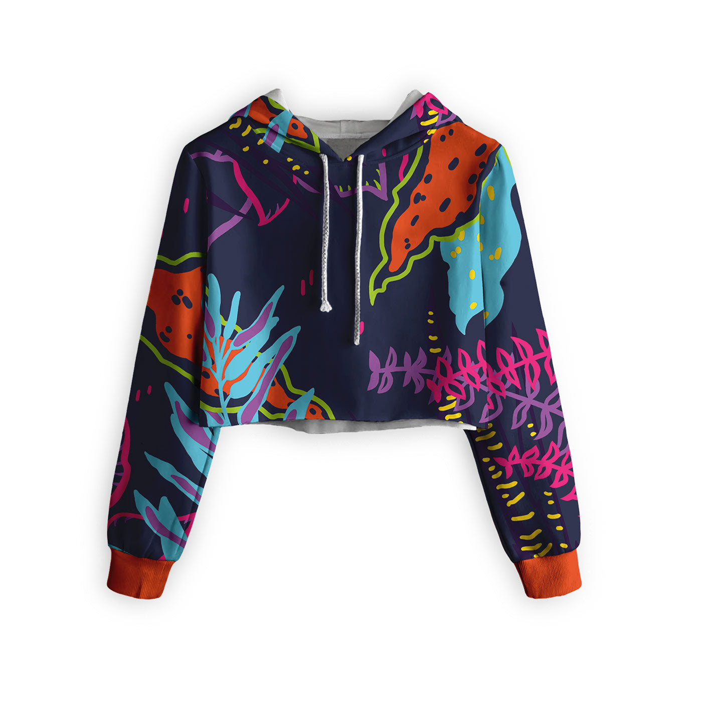 Abstract Garden Cropped Hoodie