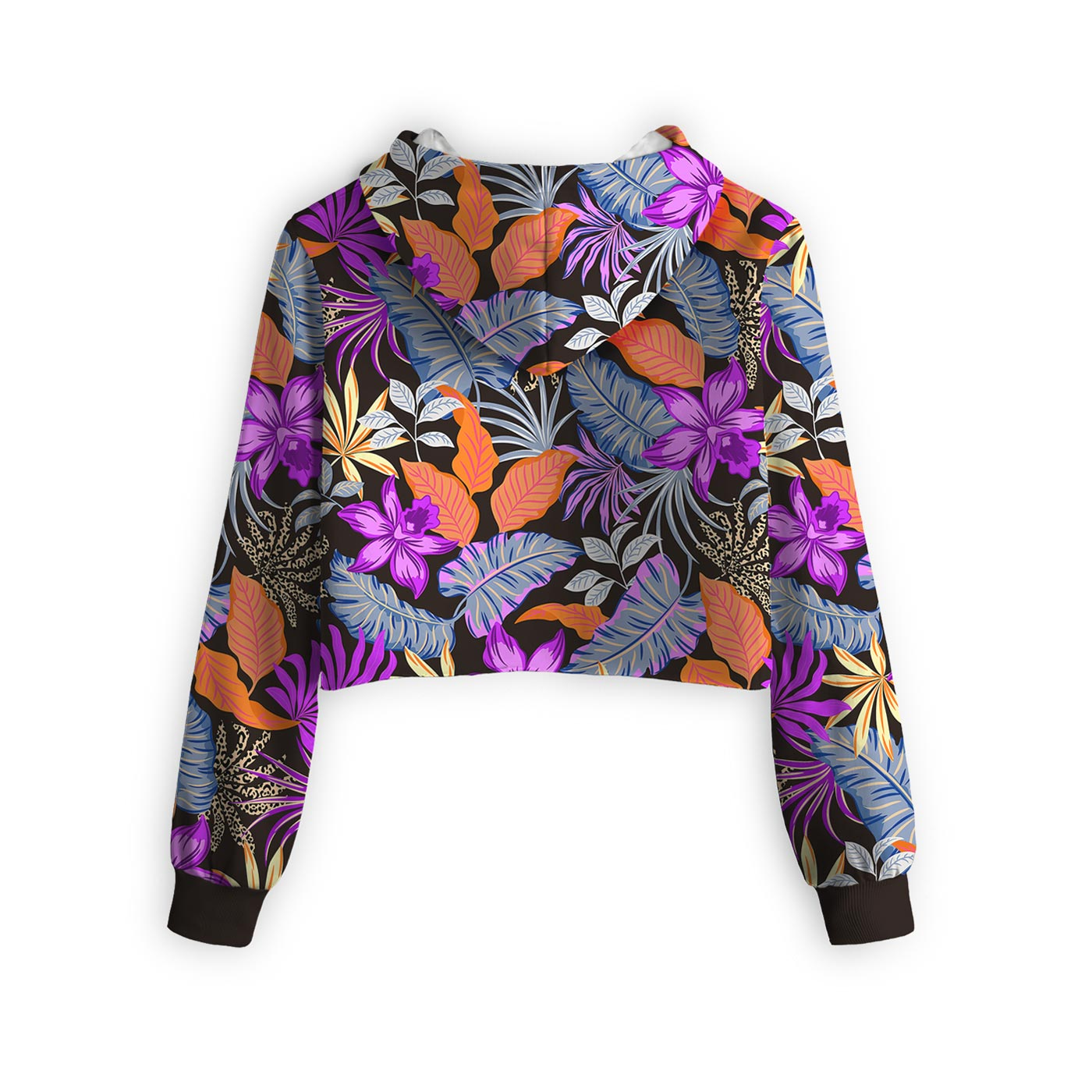 Evening Floral Dance Cropped Hoodie