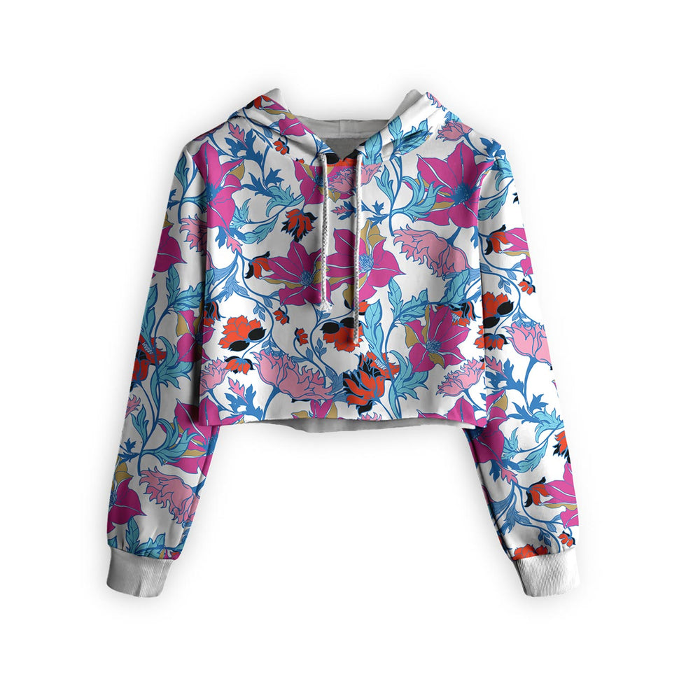 Fairy Tale Morning Floral Cropped Hoodie