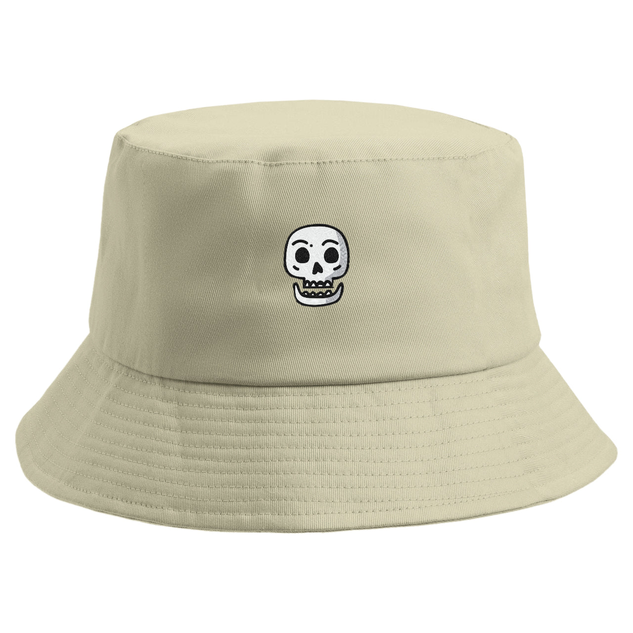 Embroidered Simple Skull Bucket Hat