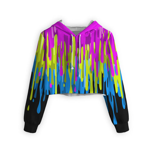 Dripping Paint Cropped Hoodie