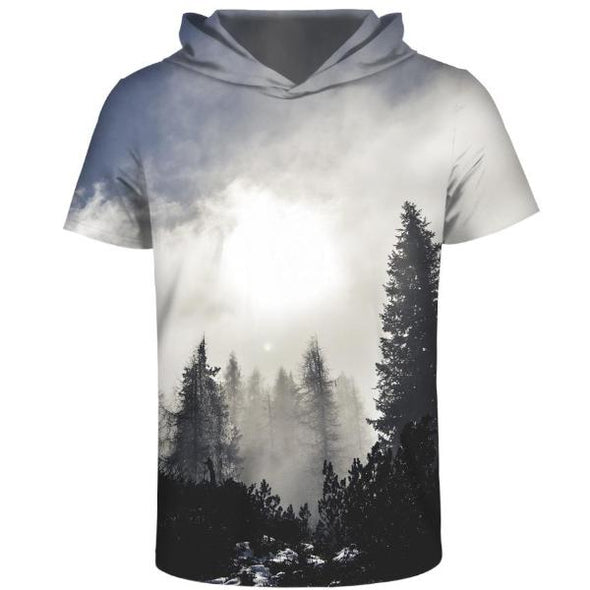 Gray Forest Hooded T-Shirt