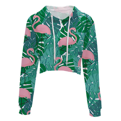 Flamingo Cropped Hoodie