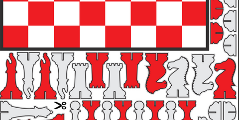Paper Chess Set in Red & White