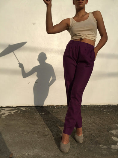 Vintage High Waist Purple Linen Pants