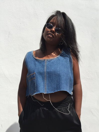 Vintage Denim One Pocket Crop Tank