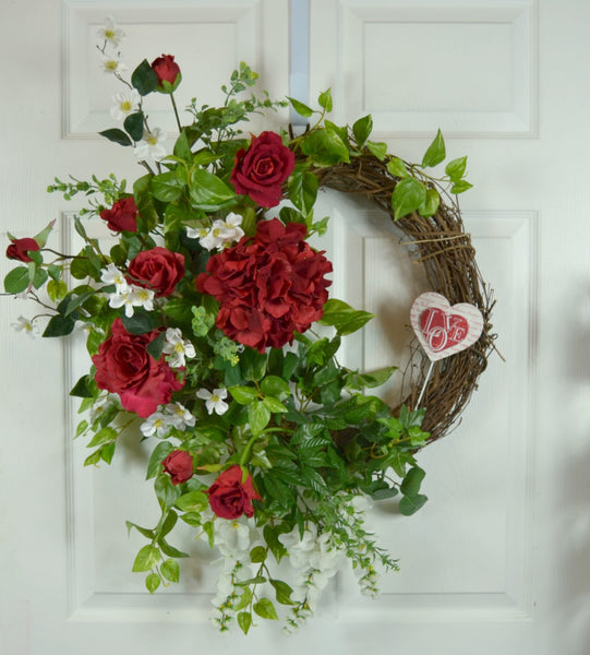 Traditional Valentine's Day Wreath with Red Roses