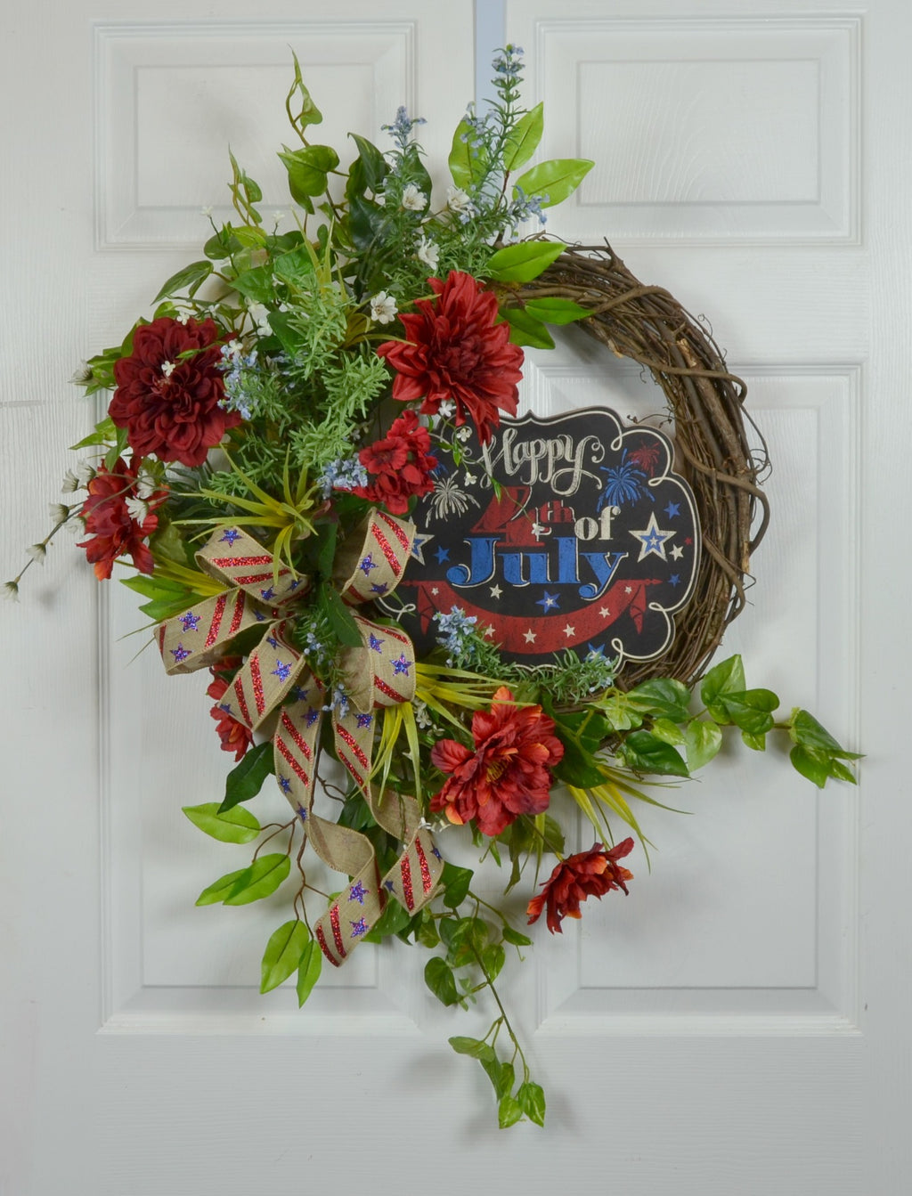 4th of July Front Door Floral Patriotic Wreath with Sign
