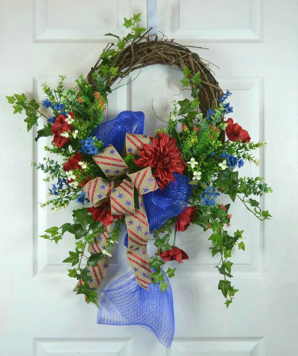 American Patriotic 4th of July Floral Front Door Wreath by Gaslight Floral Design.