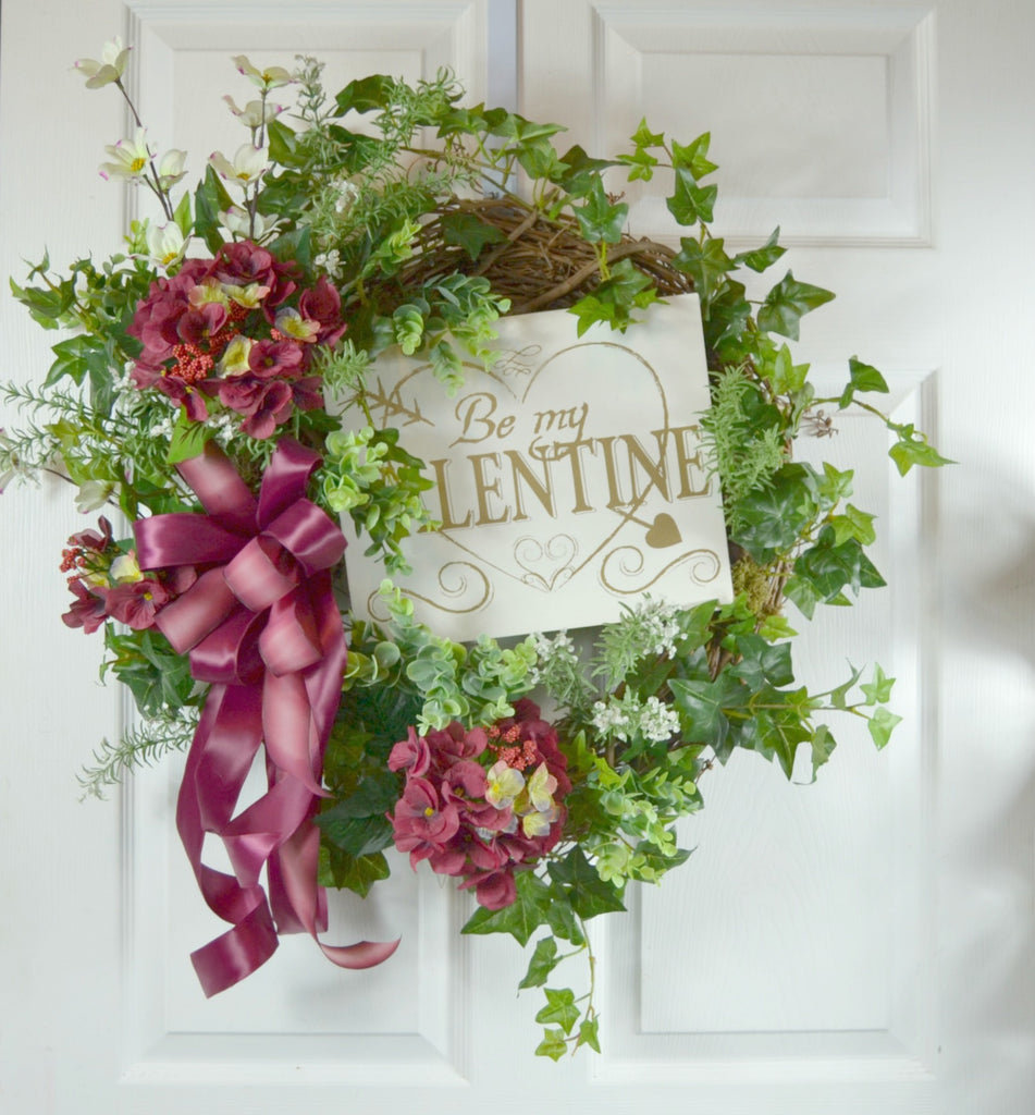 Be My Valentine's Day Floral Wreath
