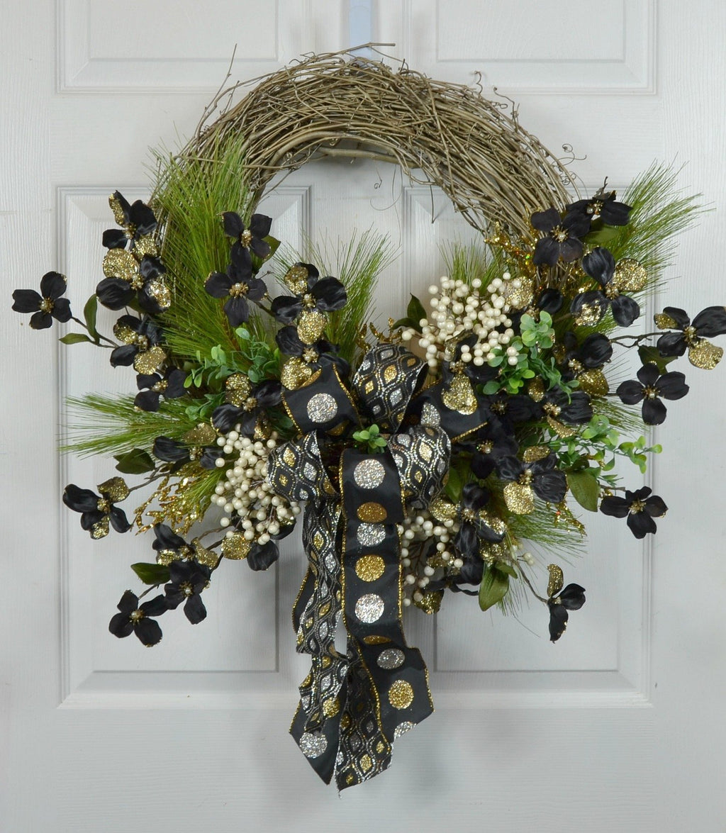 Black & Gold Dogwood Christmas Wreath