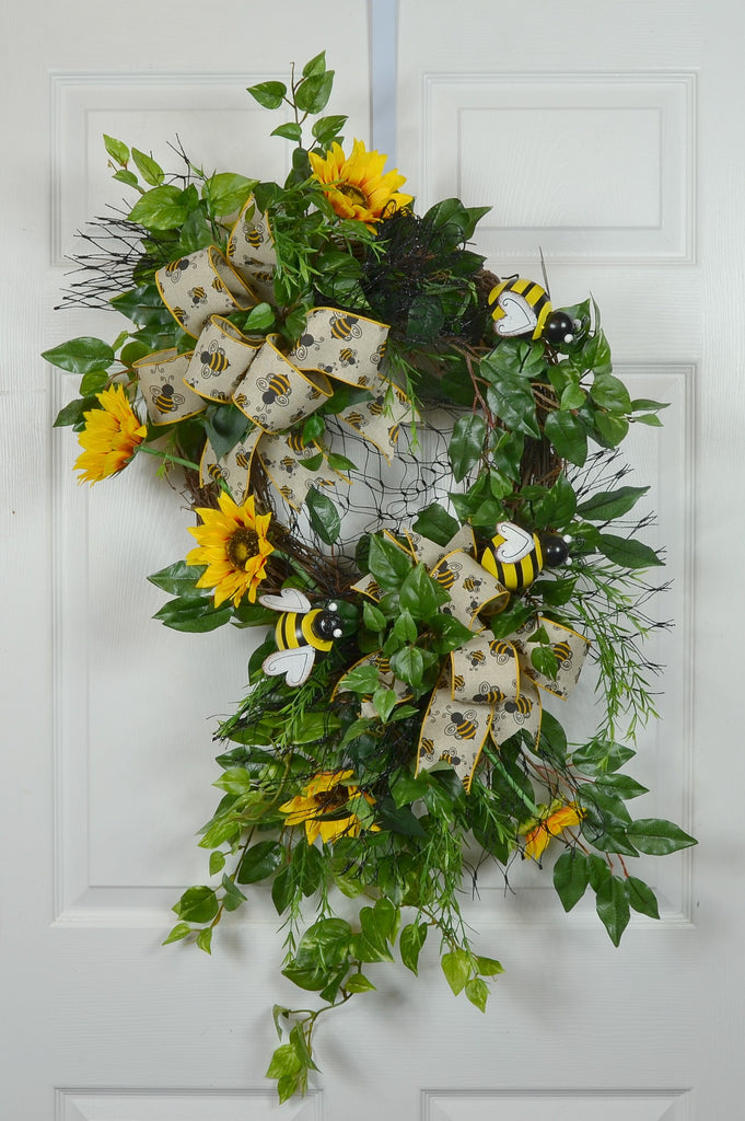Bumblebee Sunflower Summer Front Door Wreath