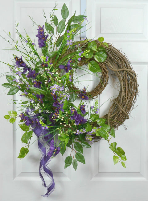 Spring Floral Wreath with Double Grapevines