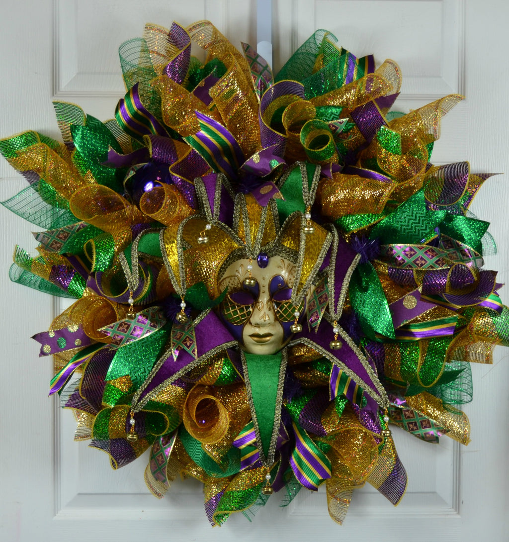 Ellenore Mardi Gras Deco Mesh Wreath with Jester Mask