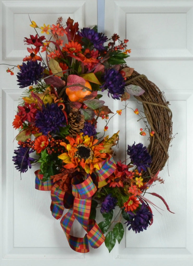 Fall Autumn Rustic Front Door Wreath