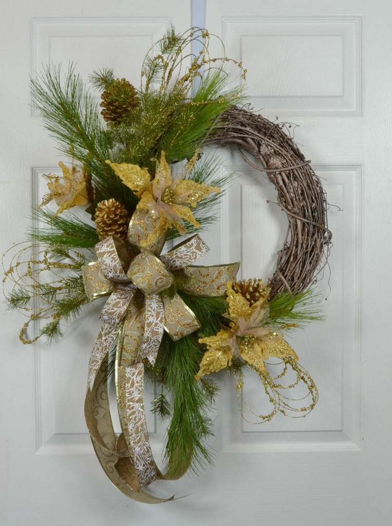 Golden Christmas Front Door Wreath