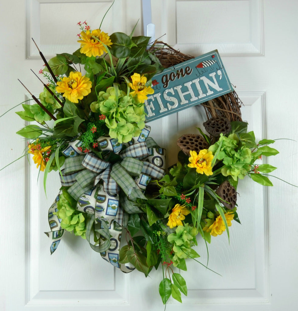 Summer Gone Fishing Door Wreath