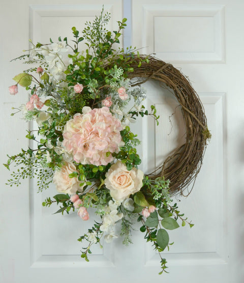 Gorgeous Pink Wedding Wreath with Hydrangea and Roses