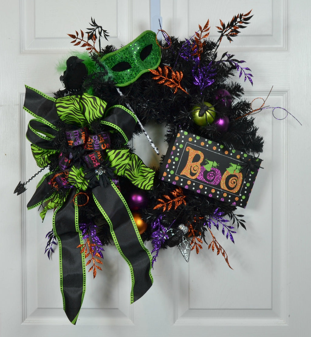Halloween Front Door Wreath with Mask for your Home Decor
