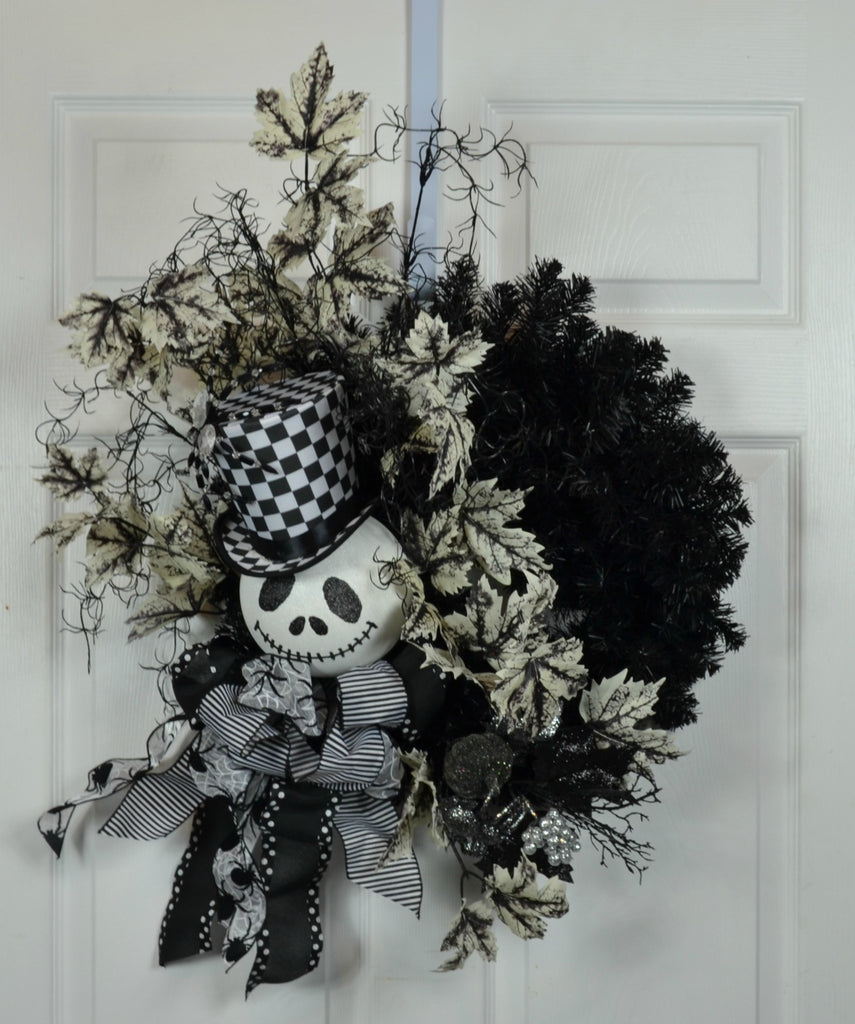 Halloween Floral Door Wreath with Jack Skellington