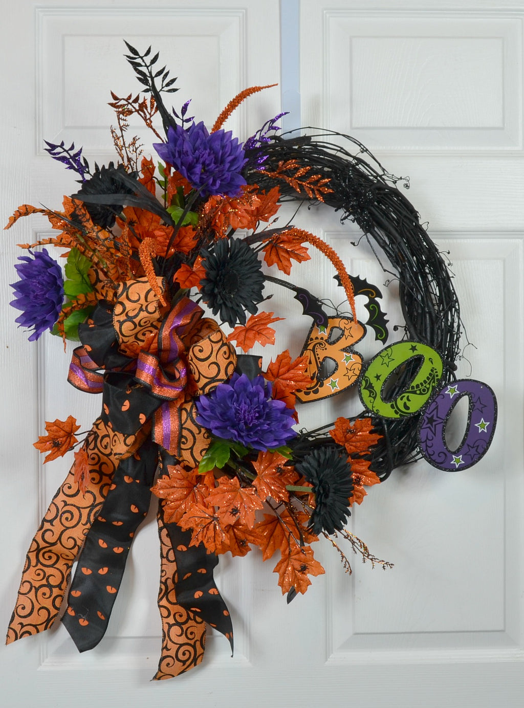 Halloween Front Door Wreath with Boo & Bats Sign