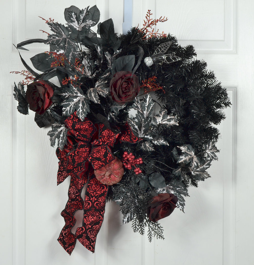 Halloween Door Decor Wreath with Dark Red Roses